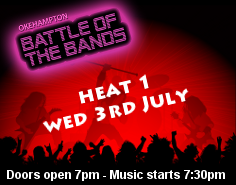 Okehampton Battle of the Bands 2013 - Heat 1. Chater Hall, Okehampton. 7pm, music at 7:30pm. Licensed bar. Entry by donation.
