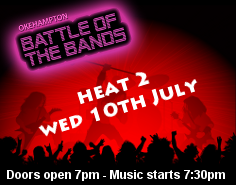 Okehampton Battle of the Bands 2013 - Heat 2. Charter Hall, Okehampton. 7pm, music at 7:30pm. Licensed bar. Entry by donation.