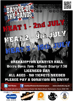 Okehampton Battle of the Bands 2015 - Heat 1. Charter Hall, Okehampton. 7pm, music at 7:30pm. Licensed bar. Entry by donation.