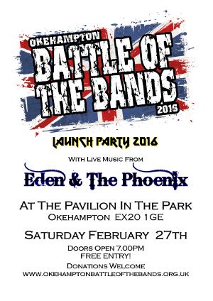 Battle of the Bands 2016 Application Launch Party - 7pm, 27th Feb at the Pavilion in the Park.