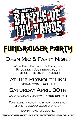 Open Mic and Fundraiser at The Plymouth Inn. Saturday 30th April 2016 at 7:30pm